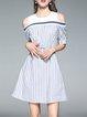Stripes Cotton-blend Cold Shoulder Mini Dress
