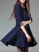Dark Blue Solid Long Sleeve Spandex Mini Dress