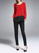 Red Long Sleeve Spandex Paneled Crew Neck Blouse