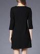 Black Paneled Cotton Casual Mini Dress