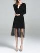 Solid Slit Elegant 3/4 Sleeve Midi Dress