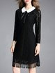 Black Peter Pan Collar Guipure Lace Nylon Elegant Midi Dress