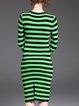 Slit Long Sleeve Elegant Stripes Sweater Dress