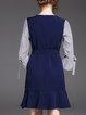 Dark Blue Bell Sleeve Printed Midi Dress With Belt
