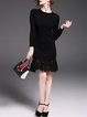 Black Cotton Flounce Paneled Elegant Sweater Dress