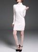 White Solid  Long Sleeve Sheath Sweater Dress
