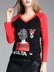 Black-red Color-block V Neck Printed Long Sleeved Top