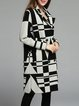 White Lapel Long Sleeve Knitted Geometric Coat