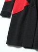Black H-line Cashmere Long Sleeve Color-block Coat