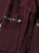 Burgundy Hoodie Long Sleeve H-line Paneled Coat