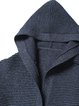 Navy Blue Casual H-line Paneled Cashmere Coat