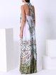 Halter Polyester Resort Sleeveless Swing Maxi Dress