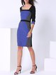 Royal Blue Color-block Stripes Half Sleeve Midi Dress