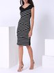 Black Printed Stripes Elegant Cotton-blend Midi Dress