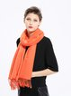 Orange Casual Polyester Solid Scarf