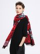Red Abstract Casual Polyester Scarf