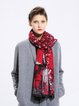 Red Abstract Viscose Casual Scarf