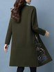 Army Green Long Sleeve Stand Collar H-line Buttoned Cardigan