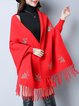 Floral Batwing Casual Knitted Poncho And Cape