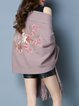 Deep Pink Floral Embellished Casual Knitted Poncho And Cape