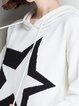 White Knitted Hoodie Long Sleeve Geometric Sweater