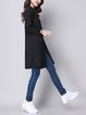 Black Solid Knitted Long Sleeve Cardigan
