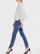 White Shirt Collar Batwing Plain Cotton Blouse