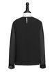 Black Fringed Frill Sleeve Blouse