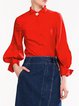 Red Balloon Sleeve Plain H-line Blouse