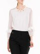 White Polyester Frill Sleeve Crew Neck Long Sleeved Top