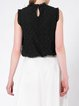 Black Stand Collar Crocheted Sleeveless Tank