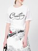 White Letter Paneled Knitted Casual Short Sleeved Top