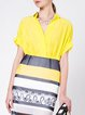 Yellow Casual V Neck Short Sleeved Top