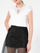 White Plain Knitted Casual Short Sleeved Top