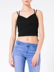Black Casual Spaghetti Plain Knitted Cami