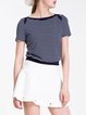 Blue Knitted Short Sleeve Stripes Cropped Top