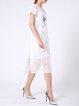 White Paneled Crew Neck Short Sleeve Midi Dress