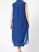 Blue Sleeveless Slit H-line Vest