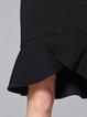 Black Mermaid Slit Elegant Midi Skirt
