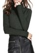 Green Casual Solid Turtleneck Sweater