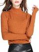 Orange Turtleneck Solid Casual Sweater
