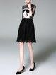 Black Guipure Lace Elegant Midi Dress
