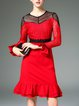 Red Crew Neck Flounce Cotton Bell Sleeve Midi Dress