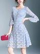Light Blue Crew Neck Bell Sleeve Guipure Lace A-line Midi Dress