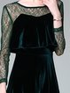 Guipure Lace Crew Neck Elegant Long Sleeve Midi Cocktail Dress