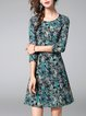Multicolor Crew Neck A-line Abstract 3/4 Sleeve Midi Dress