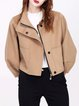 Camel Wool Pockets Batwing Zipper Cropped Jacket