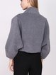 Gray Batwing Wool Pockets Cropped Jacket