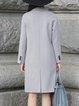Gray Lapel Long Sleeve Wool H-line Coat