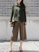 Army Green Wool Plain Casual H-line Cropped Jacket
